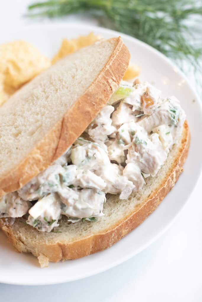 a stuffed sandwich with chicken salad on a plate with chips.