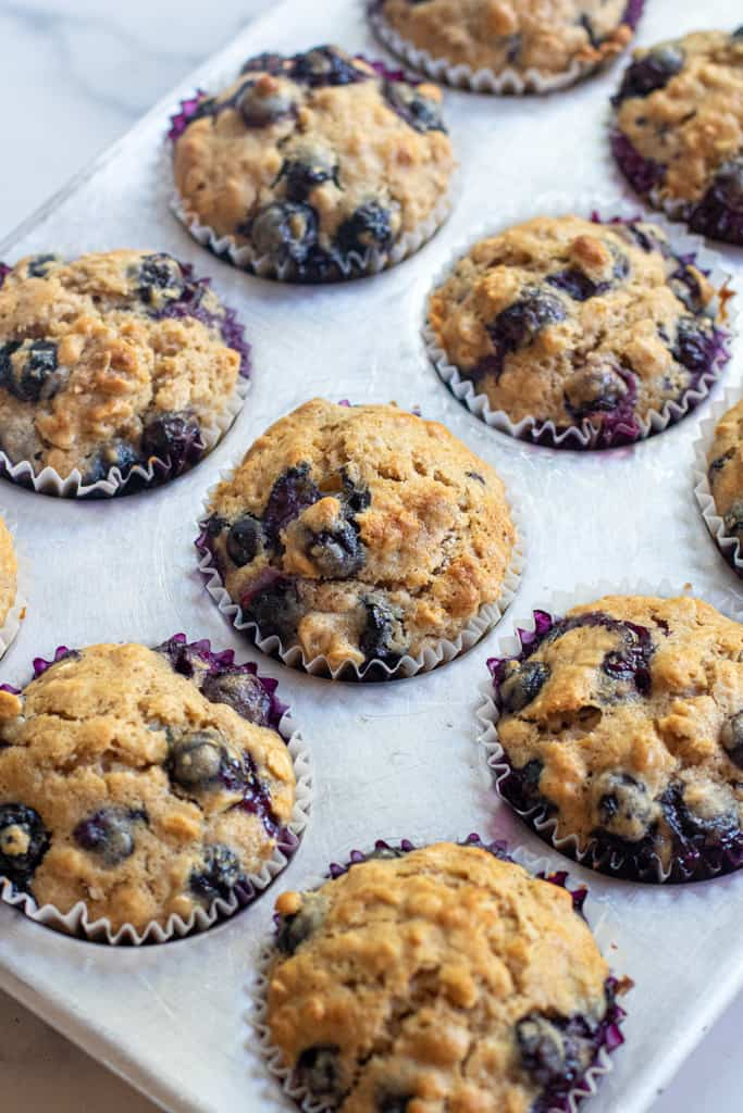 baked muffins in a muffin tin.