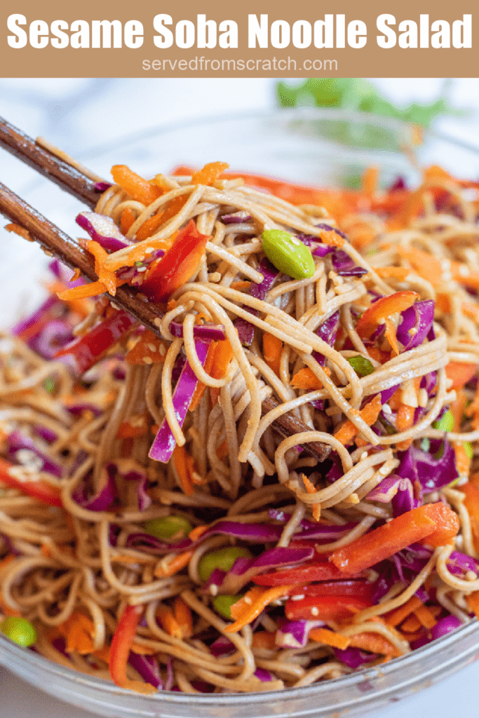 chopsticks holding up noodle salad with Pinterest pin text.