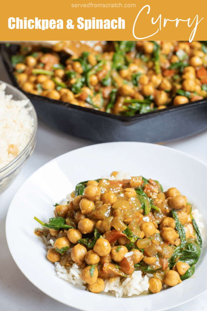 a plate of rice topped with chickpea curry in front of cast iron with curry with Pinterest pin text.