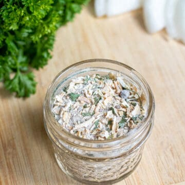 a small open mason jar with onion soup mix.