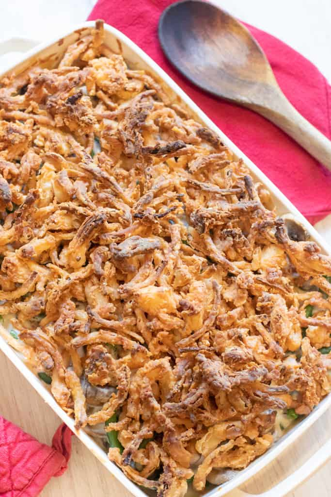 cooked fried onion topped green bean casserole.